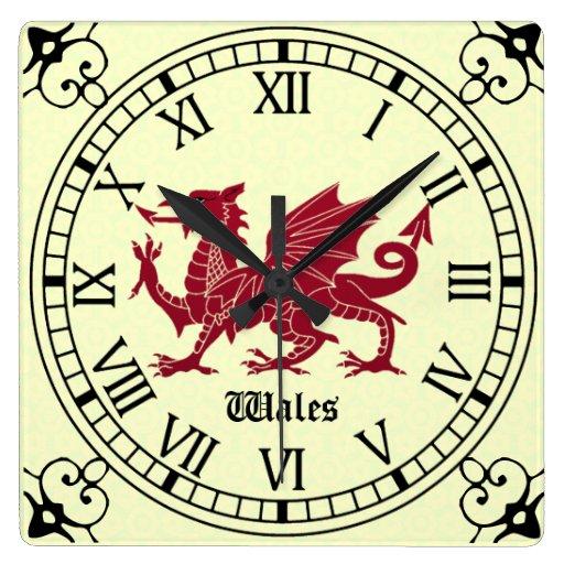 'Mediaeval Welsh Dragon Wall Clock - Roman Numerals