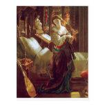 Mediaeval woman bedroom post card