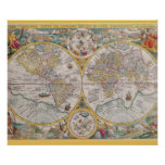 Mediaeval World Map From 1525 Poster