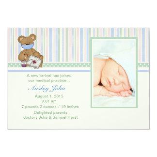 "Medic Bear - Photo Birth Announcement 5"" X 7"" Invitation Card"