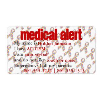 Medical Alert Autism Awareness Labels