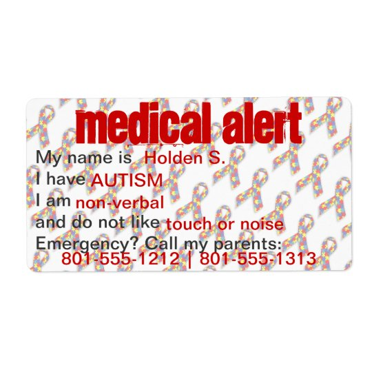 Medical Alert Autism Awareness Labels