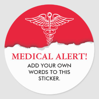 Medical Alert Custom Text Classic Round Sticker