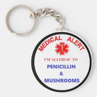 medical alert drug allergy key ring