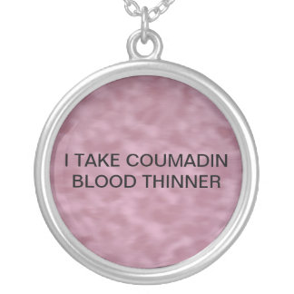 MEDICAL ALERT FOR COUMADIN SILVER PLATED NECKLACE