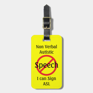 Medical Alert Line Non Verbal Autistic Luggage Tag