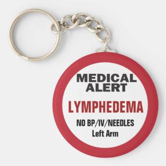 Medical Alert Lymphedema information Key Ring