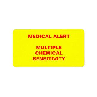 Medical Alert: Multiple Chemical Sensitivity Address Label