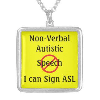 Medical Alert Non Verbal Autistic Square Pendant Necklace