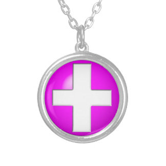 Medical Alert - Pink Silver Plated Necklace