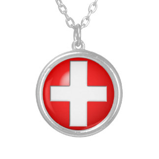 Medical Alert - Red Silver Plated Necklace