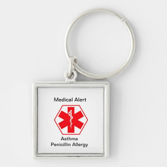 Medical allergy alert keychains (customisable)