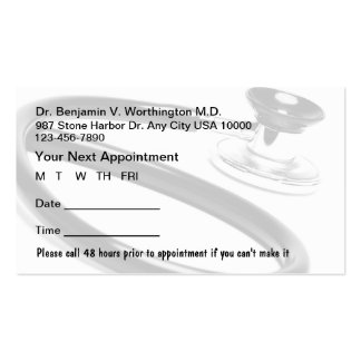 Medical Appointment Cards Pack Of Standard Business Cards