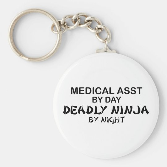 Medical Assistant Deadly Ninja Basic Round Button Key Ring