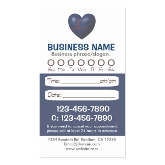 Medical blue heart appointment cards business cards