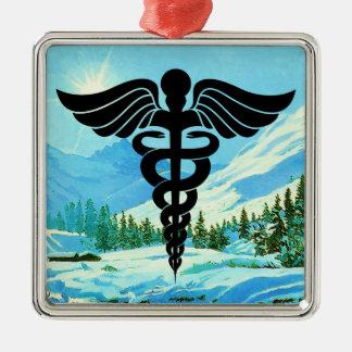 Medical Caduceus Christmas Snow Ornament