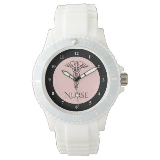 Medical Caduceus Symbol | RN Nurses Nursing Pink Watch