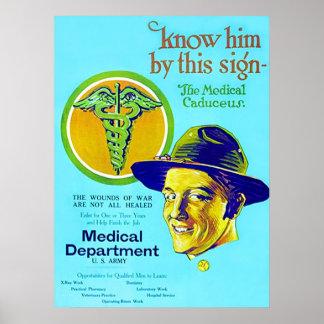Medical Caduceus ~ Vintage WW1. Poster