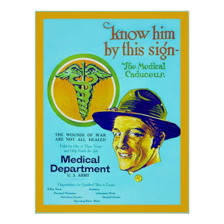 Medical Caduceus ~ Vintage WW1 Poster