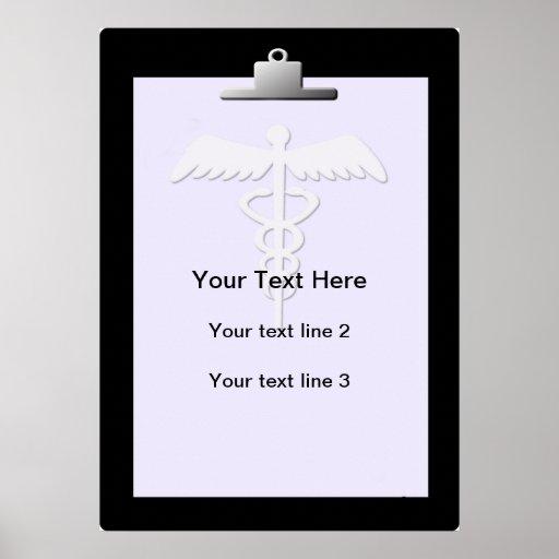 Medical Clipboard Caduceus Custom Poster