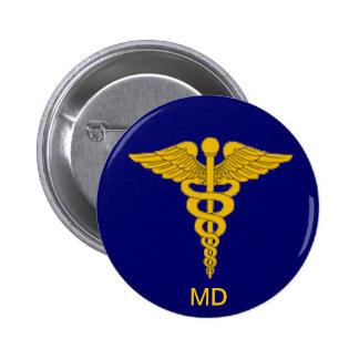 Medical Doctor Caduceus Button