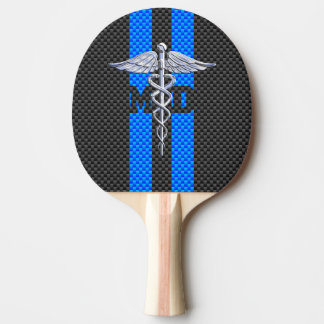 Medical Doctor MD Caduceus on Carbon Fiber Decor Ping Pong Paddle