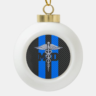 Medical Doctor MD Caduceus on Carbon Fiber Style Ceramic Ball Christmas Ornament