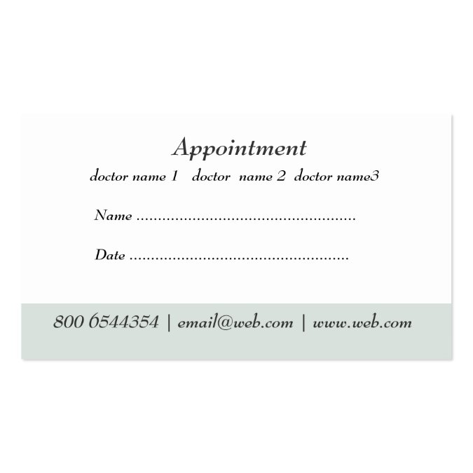 Medical doctor office appointment business card templates for Medical appointment card template free
