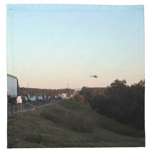 Medical Evacuation Helicopter leaving an accident Printed Napkin