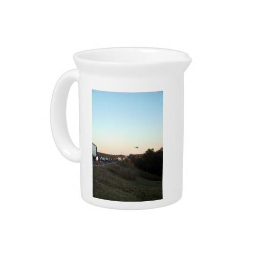 Medical Evacuation Helicopter leaving an accident Drink Pitcher