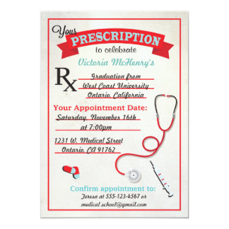 Medical Graduation Prescription Pad Invitation