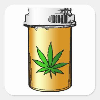 medical greens pill bottle square sticker