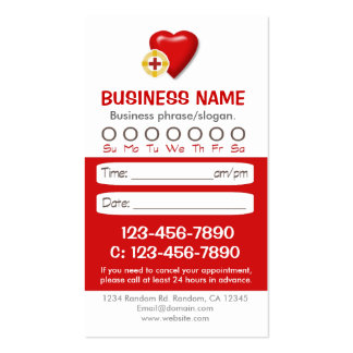 Medical heart appointment cards business card
