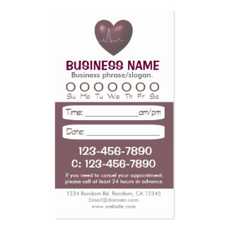Medical heart appointment cards pack of standard business cards