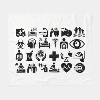 Medical Icons bold black and white design Fleece Blanket