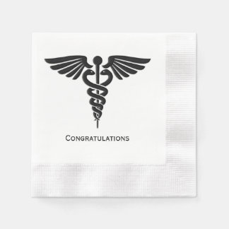 Medical Insignia Caduceus Congratulations Paper Napkins