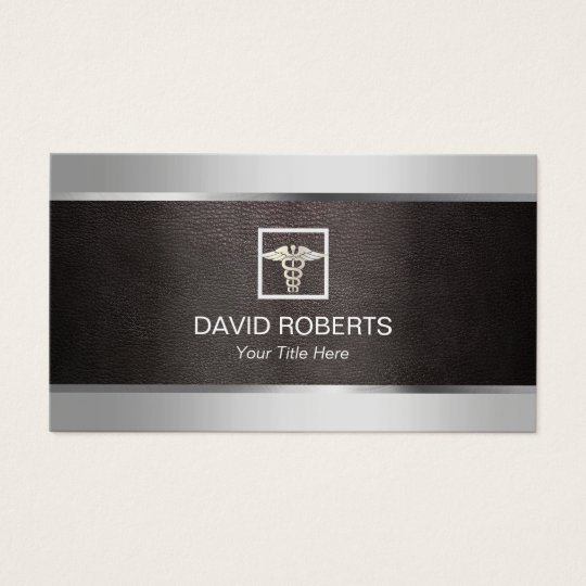 Medical Metal Border & Leather Background Business Card
