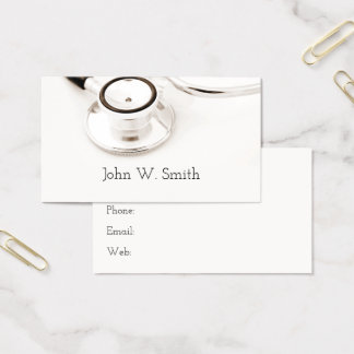 Medical Nurse Doctor Stethoscope White Background Business Card