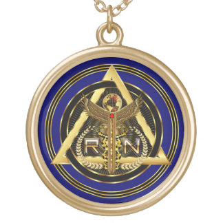 Medical Nurse Logo Round Only VIEW ABOUT Design Gold Plated Necklace