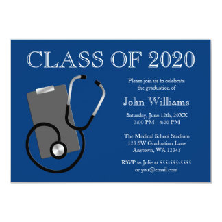Medical Nursing School Blue Graduation 13 Cm X 18 Cm Invitation Card