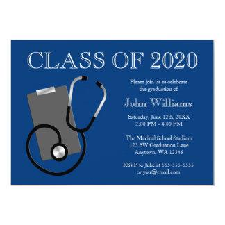 Medical Nursing School Blue Graduation 5x7 Paper Invitation Card