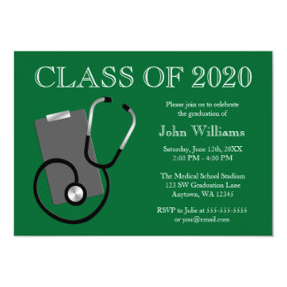 """Medical Nursing School Green Graduation 5"""" X 7"""" Invitation Card"""