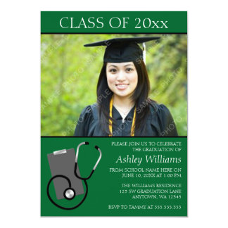 "Medical Nursing School Green Photo Graduation 5"" X 7"" Invitation Card"