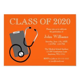 Medical Nursing School Orange Graduation 5x7 Paper Invitation Card