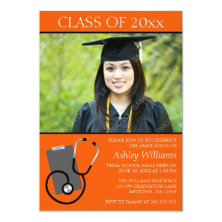 Medical Nursing School Orange Photo Graduation 5x7 Paper Invitation Card