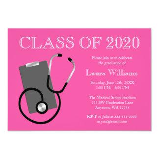 Medical Nursing School Pink Graduation 5x7 Paper Invitation Card
