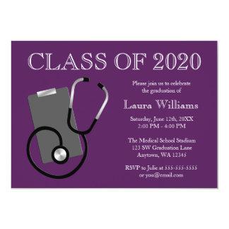 Medical Nursing School Purple Graduation 5x7 Paper Invitation Card
