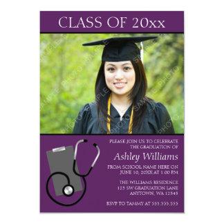 Medical Nursing School Purple Photo Graduation 13 Cm X 18 Cm Invitation Card