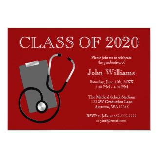 Medical Nursing School Red Graduation 5x7 Paper Invitation Card