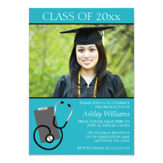 "Medical Nursing School Teal Photo Graduation 5"" X 7"" Invitation Card"